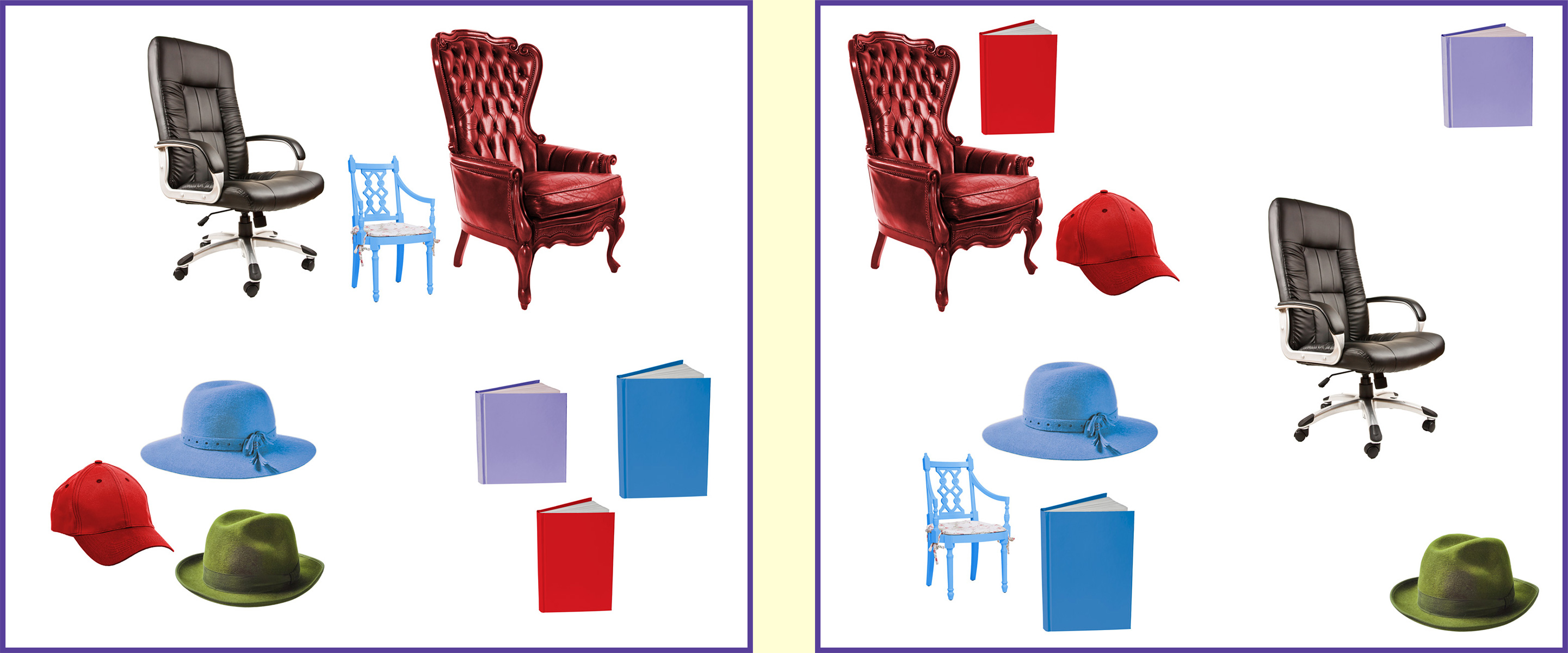 Three different chairs, three different books, and three different hats.
